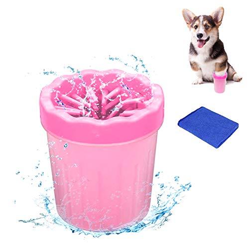 WELLXUNK Haustier Pfotenreiniger,Pfotenreiniger aus Silikon,Tragbarer Hunde Pfote Reiniger mit Handtuch für Hunde Katzen Massage Pflege Schmutzige Klauen (Rosa S)