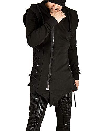 JMSUN Hommes Assassins Creed Hoodies Sweatshirts côté Lacets Polaire Gothique à Capuche Veste à glissière