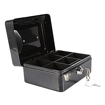 1Pc Metal Cash Box,Small Portable Steel Lockable Cash Security Box,Resistant Safe Lock Box with Key  Black