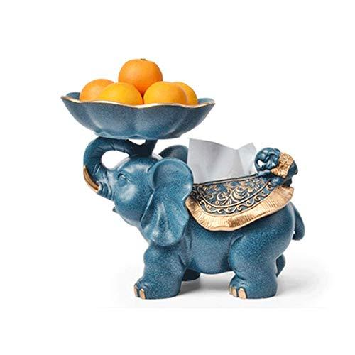 NAFE Kreative Europäischen Stil Wohnzimmer Dekoration obstteller, Wohnzimmer tv-Schrank Dekoration Ornamente glück Elefanten Haus bewegen neues zuhause Geschenk-Blue