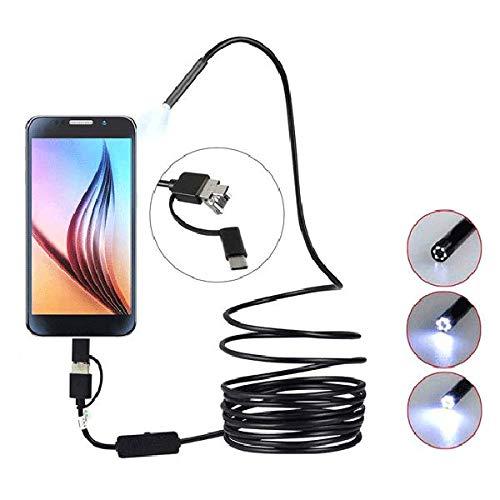 Endoskopkamera mit Licht, geeignet für Tap-C-, USB- und Android-Mobiltelefone Drei-in-Eins-Endoskop, hochauflösende visuelle wasserdichte Endoskopkamera,Unter Wasser erhältlich