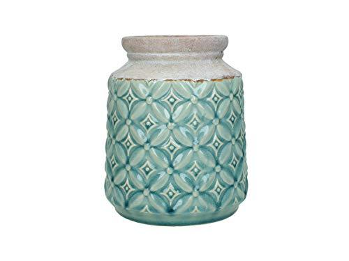 Jarrón (cerámica, 16,5 x 16,5 x 20 cm), Color Azul