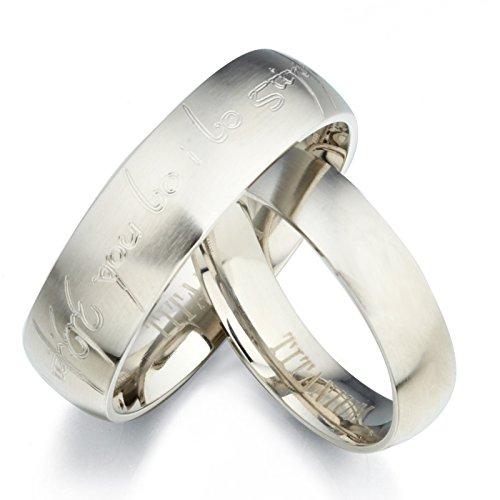 Gemini, set di anelli per lui e per lei in titanio opaco personalizzati con alfabeto stile elfico Tengwar, fedi nuziali, taglie britanniche da H a Z6