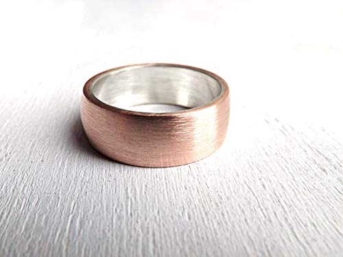Copper Wedding Ring, Personalized Mens Ring, Mixed Metal Ring Copper Silver, Alternative Wedding Band Silver Copper, Mens Ring Copper, Anniversary Gift for Men