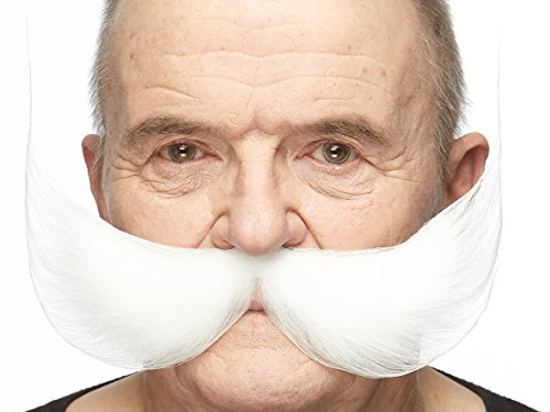 Mustaches Self Adhesive Fake Mustache, Novelty, Fisherman's False Facial Hair, Costume Accessory for Adults, White Color