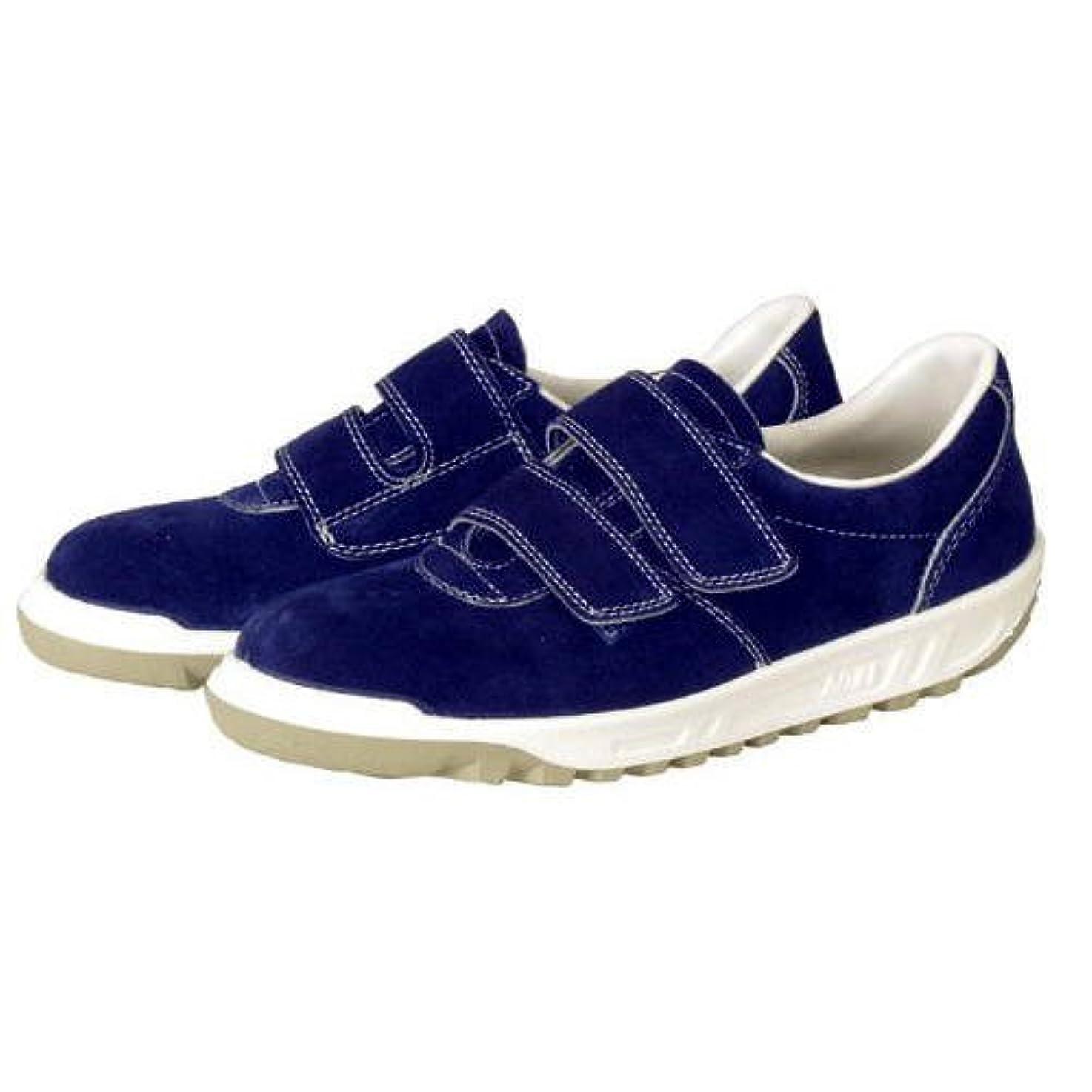 餌候補者公平な青木産業 安全靴 スニーカータイプ マジック式 ネイビーブルー SK112N 22CM