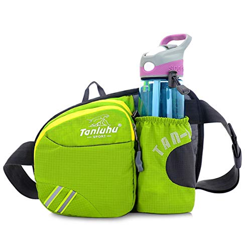 SKPower Hiking Waist Bag Pack - Fanny Pack with Water Bottle Holder for Men Women Running & Dog Walking, Fit iPhone 11/8 Plus/XS Max/Android 6.5'' Large Smartphone, Green