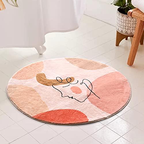 YoKii Badteppich, r&, 60 cm, Kunstwolle, weich, mit Gummiunterseite, modern, abstrakt, ästhetisch, gemustert, rutschfest, Boho-Stil, 60 cm, Rosa