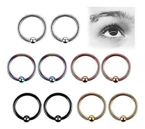 X/L 16G Nasenringe Set, Edelstahl Body Piercing Stud Barbell für Zunge Nase Lippe Augenbraue Helix Tragus Knorpel Ring Piercing Set (Farbe: 8 mm)