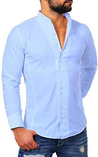 CARISMA Herren Uni Langarm Stehkragen Hemd Slimfit tailliert figurbetont Party Club Look Optik Freizeit Casual einfarbig Basic, Grösse:XL, Farbe:Hellblau