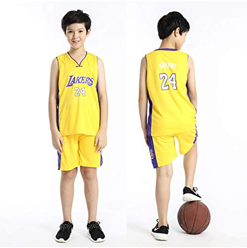 Junge Kind Lakers Kobe Bryant # 24 Jersey - Klassisches ärmelloses Set, Los Angeles # 23 Jersey, Basketball für Männer und Unisex-Korbanzug-T-Shirt FRHLH-purple23-L