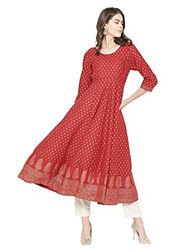 Poshak Women's Cotton & Crepe Anarkali Kurta (P582 M_Red _Medium)