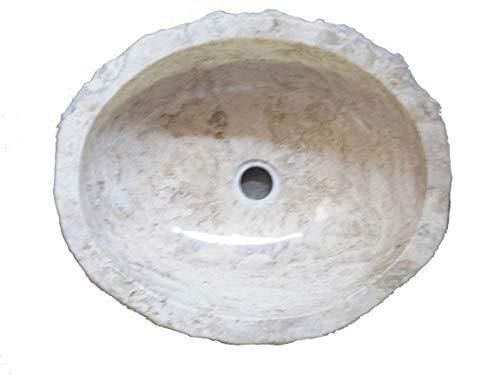 Biggi moda mare N917 47x39 h15 Lavandino in Pietra di Marmo Bianco indonesiano per Bagno Ovale da appoggio lavello lavabo Pezzo Unico