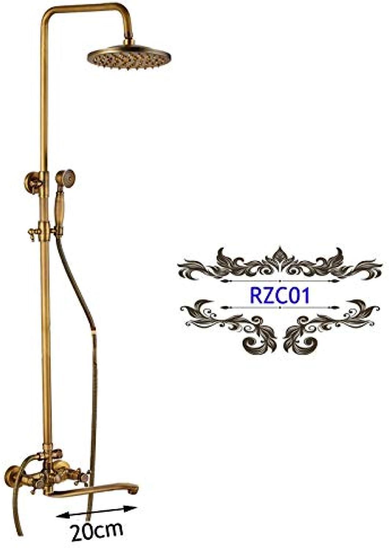 LWSFZAS Messing Antike Brausebatterie mit Handbrause Wandmontage 25 cm Langen Auslauf Bad Dusche Wasserhahn Niederschlag Messing DuschkopfRZC01