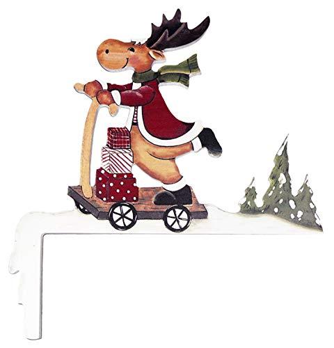 khevga Weihnachtsdeko Purzelnde Elche für Türrahmen-Deko aus Holz (Elch mit Trettroller)
