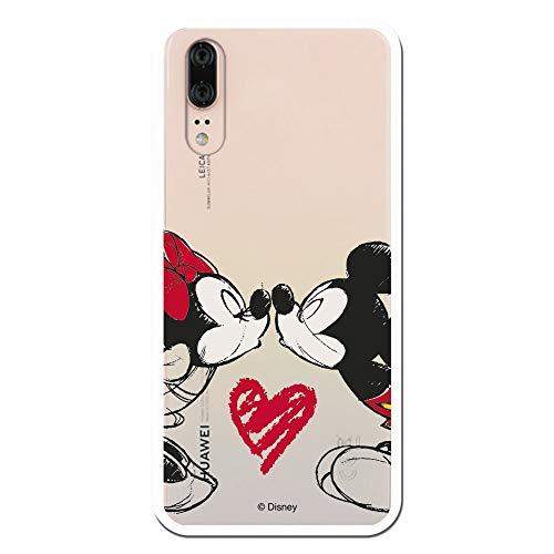 Funda para Huawei P20 Oficial de Clásicos Disney Mickey y Minnie Beso para Proteger tu móvil. Carcasa para Huawei de Silicona con Licencia Oficial de Disney.