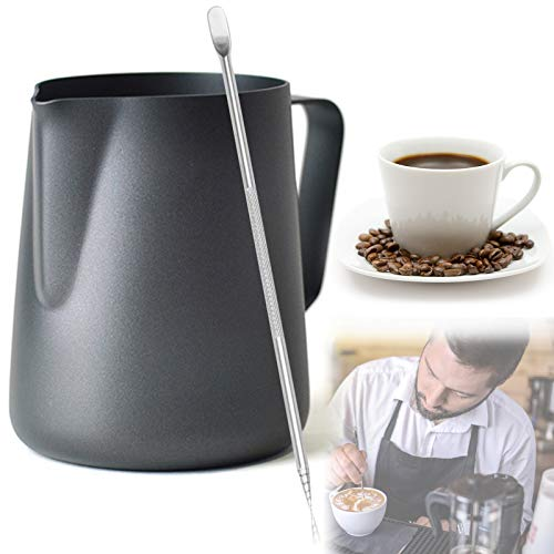 Milk Frothing Pitcher Stainless Steel Milk Frother Pitcher Espresso Milk Frother Cup 350ML Milk Steaming Pitcher with Decorating Art Pen for Espresso Machine Milk Frother Latte Art Black