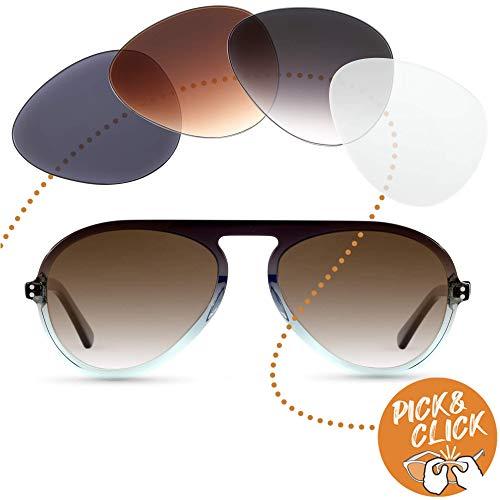 Sym Pilot Sonnenbrille mit Sehstärke von -4,00 bis +4,00 mit auswechselbaren Gläsern in 6 Farben für Kurzsichtigkeit und Weitsichtigkeit - Herren - Club Kollektion Modell Tresor grau