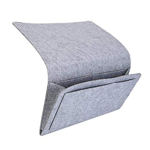 InTVN - Organizer per comodino, per riporre il letto, per telecomando, per TV, laptop, libri, giornali, telefono, perfetto per cabine o letti a castello o divano, colore: grigio