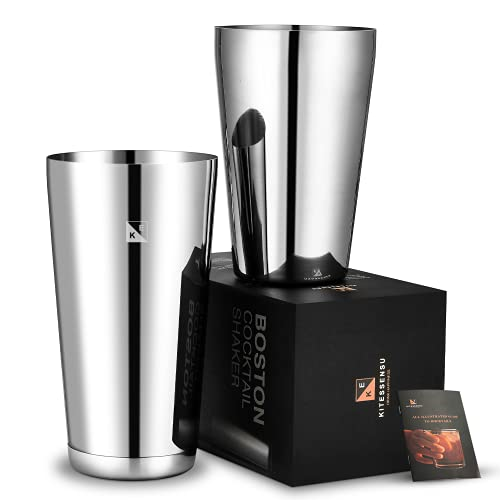KITESSENSU Boston Shaker Tins Pro, Unweighted 20oz & Weighted 25oz Martini Drink Shaker, 18/8 Grade Stainless Steel Bartender Cocktail Shaker with Recipes Booklet