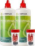 Lensdealer Peroxidlösung 2x 360ml Doppelpack + Behälter, Pflegemittel für weiche Kontaktlinsen Kontaktlinsenflüssigkeit