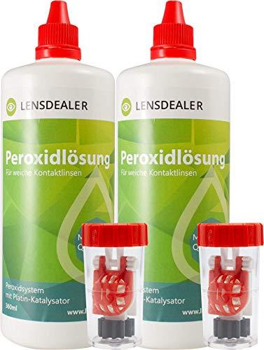 Lensdealer Peroxidlösung 2x 360ml Doppelpack + Behälter, Pflegemittel für weiche Kontaktlinsen Kontaktlinsenflüssigkeit (2)…