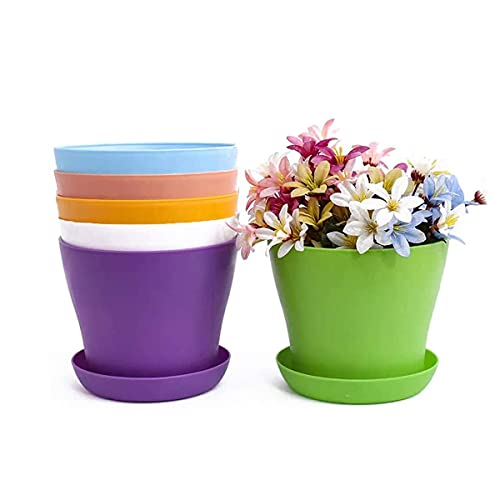 TSKDKIT 20 cm vasi da fiori e piattini extra large in plastica con vaschette per piante da bonsai per interni ed esterni, vasi colorati da giardino per decorazione domestica e ufficio (20,3 cm)