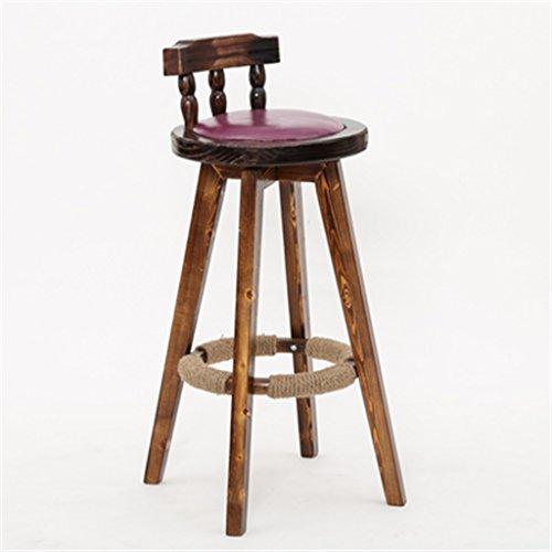 Wooden Stool Taburete de Bar de Madera Maciza Silla de Bar de Estilo Europeo Taburete Alto Giratorio de Bar Alto Taburete de Bar Retro nórdico (Color : #2, Tamaño : 62cm)