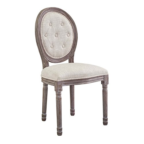 Modway Arise French Vintage Tufted Upholstered Fabric Dining Side Chair  in Beige