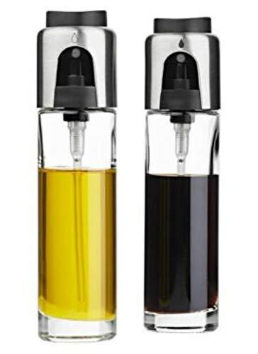 Ernesto - Aceitera y vinagrera de acero inoxidable (2 unidades, 90 ml, con mecanismo de bombeo)