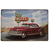 BOEMY Chapa Decorativa Vintage Ruta 66. Placa/Cartel de Pared de Metal de Coche en Ruta 66 para Garage, Casa o Bar. Medidas 20x30 cm.