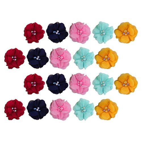 Artibetter 40Pcs Mousseline de Soie Tissu Fleur Perle Fleur Embellissement Appliques Mini Artisanat Fleur Floral Tissu Patch pour Bricolage Pince à Cheveux Bandeau Bijoux Accessoires