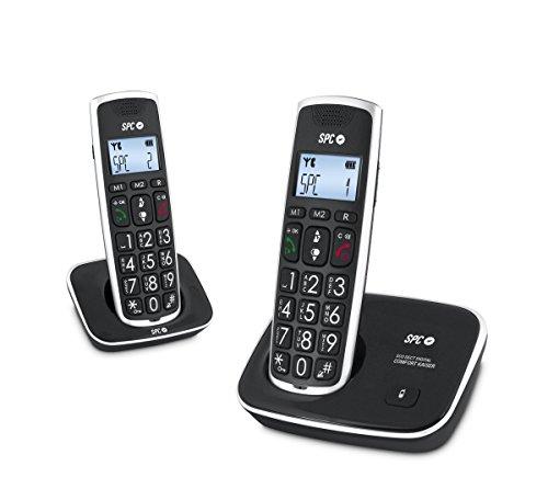 SPC Comfort Kaiser Duo teléfono inalámbrico color negro con teclas y digitos grandes, compatible con audífonos, agenda de 20 nombres y números y manos libres