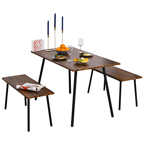 HOMCOM Essgruppe mit 2 Stühlen Industriestil, Esszimmergarnitur Sitzgruppe Tischgruppe, Braun+Schwarz, 120x70x75 cm (Tisch), 90x35x45,5 cm (Bank)