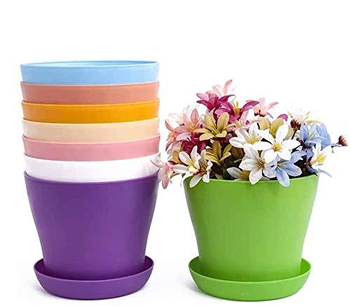 TOKERD 10 Piezas Macetas de Plástico con Plato Coloridas 10cm Macetas de Plantas de Interior y de Exterior para Oficina u Hogar