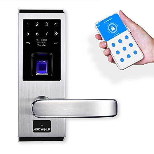 Ardwolf A50S WiFi Keyless Entry Door Lock with Right-Handle, Smart Biometric Fingerprint Front Door-Locks with Keys Key-pad for Homes Garage Bedroom Security, 304 Stainless Steel, Auto-Lock