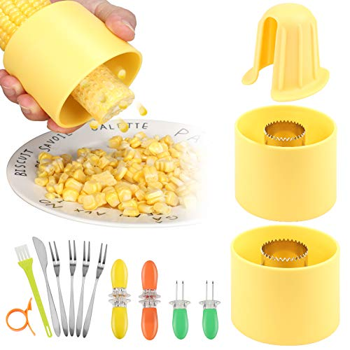 Corn Stripper Corn Stripping Tool 2-Sizes Expand to Fit Small or Larger Ears of Corn[Upgraded, Reinforced], New Corn Cob Stripper Peeler Cutter with Corn On the Cob Holders & Dessert Fork Knife 11PCS
