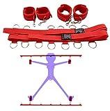 SM Set Bondage 6 Accessori per Bondage Kit bondage Regolabile per Adulti (Red)