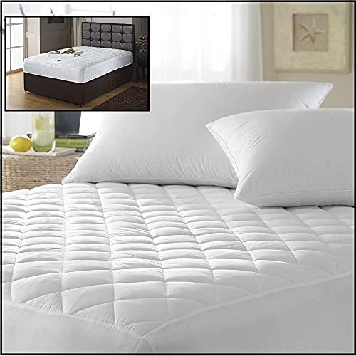 """Bedtime Comforts Ltd Couvre-Matelas matelassé Taille Euro IKEA, Coton mélangé, Blanc, Euro King Size 63"""" x 78"""""""
