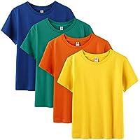 LAPASA Pack de 4 Camiseta para Niño o Niña Unisex de Manga Corta Algodón K01 (6-7 Años (Largo 46 cm, Pecho 36 cm), Energetic Colors (Naranja, Amarillo Oscuro, Verde Oscuro, Azul Oscuro))