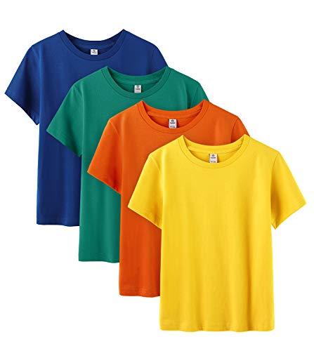LAPASA Kinder T Shirt Unterhemd Unisex Einfarbig Rundhals Baumwolle 4er Pack MEHRWEG K01 (4. Vier Farben, 10 Jahre)