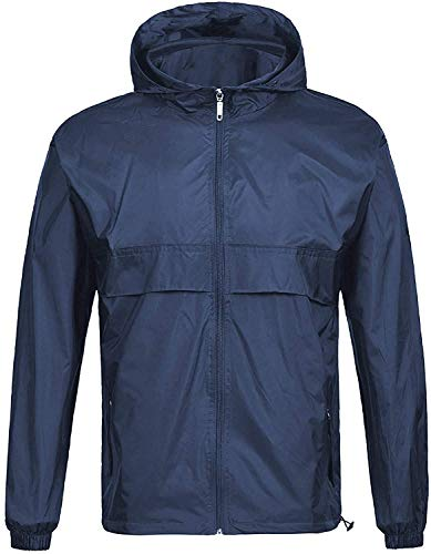SWISSWELL Waterproof Windbreaker Rain Jacket Mens Lightweight Hooded Raincoat Navy XL