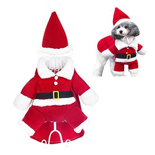 TBBA Costume De Noël Chien Manteau pour Animal Domestique Manteau Et Bonnet De Père Noël pour Petits Chiens, Chats Et Chiots,XL