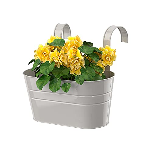Esoes Vaso da fiori ovale in metallo, con doppio gancio rimovibile, per giardino, balcone, recinto, contenitore ornamentale per fioriera grigio