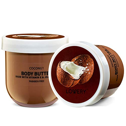 Lovery Whipped Body Butter Scented Body Lotion - Coconut Body Butter Cream for Sensitive, Dry Skin - 6oz Hydrating Moisturizer with Pure Shea Butter for Nourishing Essential Body Care