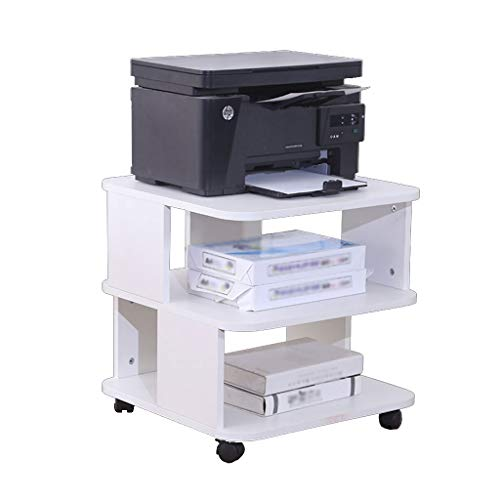Printer Stands Multifunctional Wood Printer Stand 2-Tier Storage Table for Fax, Scanner, Printer, Office Supplies-Compact and Mobile with Wheels Mobile Printer Cart (Color : White)