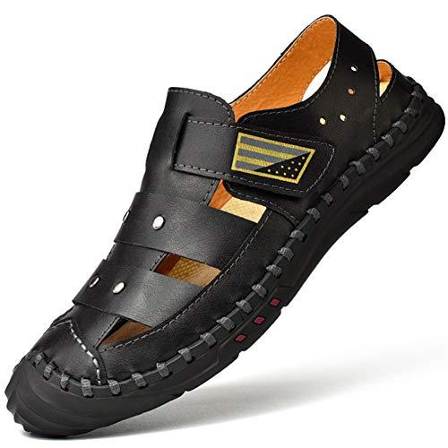 FTFDTMY Sandalias de Cuero Casual Verano Beach Sandal para Hombre Transpirable Moda Zapatos al Aire Libre Sandalias,Negro,39