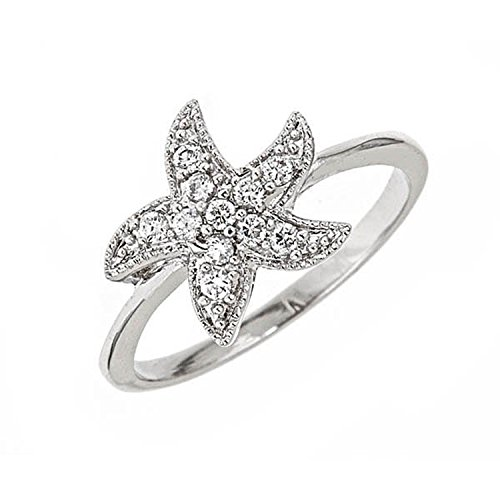 Sterling Silver CZ Starfish Ring Size : 10