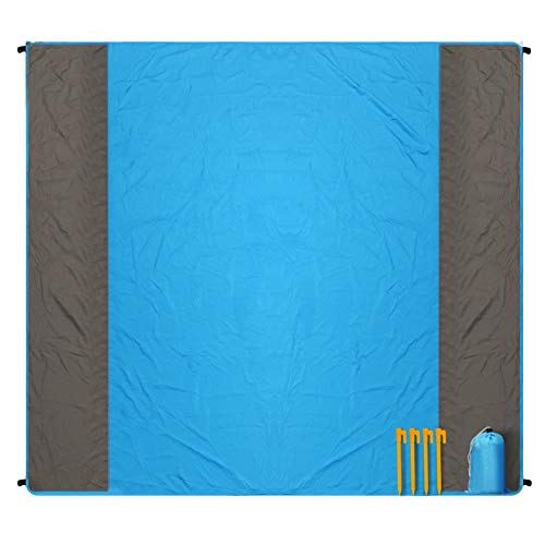 Beach Blanket, Sand Free Waterproof Picnic Blanket - Large 78'' x 82'' - Pocket Fast Drying Oversize Portable Soft Lightweight Beach Mat for Travel Camping Hiking Outdoor BHMS (Blue)