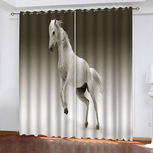WLHRJ Cortina Opaca en Cocina el Salon dormitorios habitación Infantil 3D Impresión Digital Ojales Cortinas termica - 264x160 cm - Caballo Animal Blanco